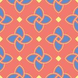 Geometric bright multi colored seamless background. Blue and beige elements on orange background. Design for wallpapers and fabrics Royalty Free Stock Photos