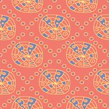 Geometric bright multi colored seamless background. Blue and beige elements on orange background. Design for wallpapers and fabrics royalty free illustration