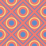 Geometric bright multi colored seamless background. Blue and beige elements on orange background. Design for wallpapers and fabrics Stock Images