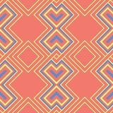 Geometric bright multi colored seamless background. Blue and beige elements on orange background. Design for wallpapers and fabrics Royalty Free Stock Photography