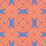 Geometric bright multi colored seamless background. Blue and beige elements on orange background. Design for wallpapers and fabrics Stock Image