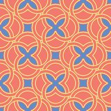 Geometric bright multi colored seamless background. Blue and beige elements on orange background. Design for wallpapers and fabrics stock illustration