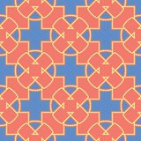 Geometric bright multi colored seamless background. Blue and beige elements on orange background. Design for wallpapers and fabrics vector illustration