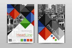 Geometric brochure front page. Business annual report cover vector template, A4 size poster Royalty Free Stock Photography