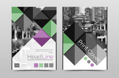 Geometric brochure front page. Business annual report cover vector template, A4 size poster Royalty Free Stock Photo