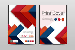 Geometric brochure front page. Business annual report cover vector template, A4 size poster Stock Photos
