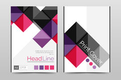 Geometric brochure front page. Business annual report cover vector template, A4 size poster Stock Images