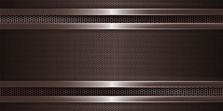 Geometric brown background with metal grille and with rectangular grooved frame. Geometric abstract brown background with metal grille and with rectangular vector illustration