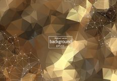 Geometric Brown Polygonal background molecule and communication. Connected lines with dots. Minimalism background. Concept of the. Science, chemistry, biology royalty free illustration