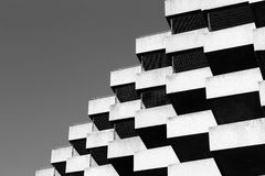 Geometric building. Black and white geometric building Royalty Free Stock Photo
