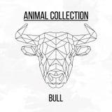 Geometric bull head. Bull head geometric lines silhouette on white background vintage design element stock illustration