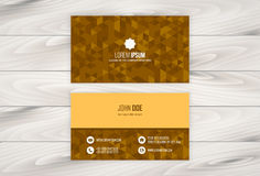Geometric Business Card Design Template with Wooden Background Stock Photo