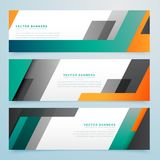 Geometric business headers set background Stock Photos