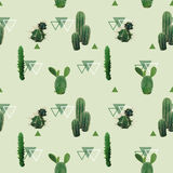 Geometric Cactus Plant Seamless Pattern. Exotic Tropical Summer Botanical Background Royalty Free Stock Image