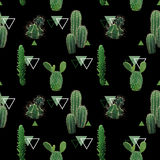 Geometric Cactus Plant Seamless Pattern. Exotic Tropical Summer Botanical Background Stock Images