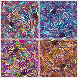 Geometric cartoon patterns set. Colorful abstract vector backgrounds Royalty Free Stock Image