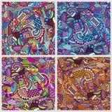 Geometric cartoon patterns set. Royalty Free Stock Image