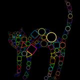 Geometric cat isolated on black background Royalty Free Stock Image