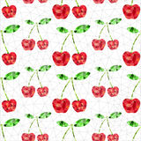 Geometric cherry pattern. Abstract geometric red cherry. Seamless endless texture pattern background Stock Illustration