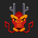 Geometric chinese dragon head. Stylized geometric chinese dragon head. Simple and minimalistic polygonal style Royalty Free Stock Photography