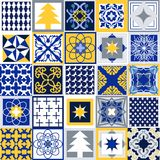 Geometric Christmas background. Set of tiles with different ornaments. Snowflakes, stars, fir trees, classical patterns. White, blue, grey and yellow winter Royalty Free Stock Image