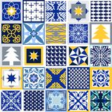 Geometric Christmas background. Set of tiles with different ornaments. Snowflakes, stars, fir trees, classical patterns. White, blue, grey and yellow winter Stock Photography