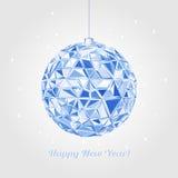 Geometric christmas ball. Holidays Background. Abstract Geometric christmas ball. 3D polygonal vector illustration, light effect Stock Images