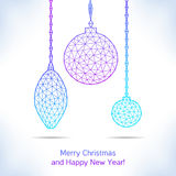 Geometric christmas balls. Stock Photos