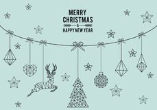 Geometric Christmas card, vector royalty free illustration
