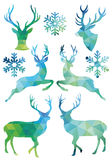 Geometric Christmas deer, vector set Stock Images