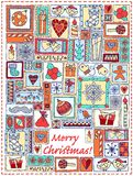 Geometric christmas doodle hand drawn pattern. Royalty Free Stock Photo
