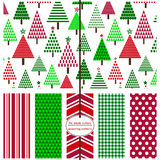 Christmas Scrapbook Paper. Seamless Background Patterns - Festive Holiday Patterns for Christmas Royalty Free Stock Image