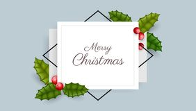 Geometric Christmas frame with holly berry stock illustration