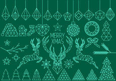 Geometric Christmas set, vector Royalty Free Stock Image