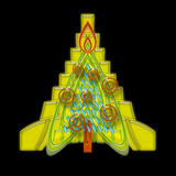 Geometric Christmas Tree. Bright Abstract Geometric Yellow Christmas Tree with Orange Rings Baubles and Sparks over Black Night Background Royalty Free Stock Image