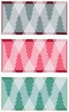 Geometric christmas trees. Three christmas vector backgrounds with christmas trees in different colors, formed by  geometric shapes, representing icicles Stock Image