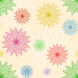 Geometric chrysanthemums seamless pattern. Multicolor vector ornament Royalty Free Stock Photos