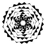 Geometric circle with distorted shapes rotating. Abstract circle Stock Photography