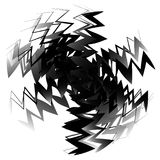 Geometric circle element made of overlapping edgy shapes. Abstract black and white circular shape stock illustration