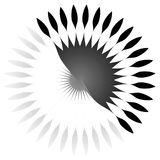 Geometric circle element of radial lines. Bursting lines merging Stock Photography