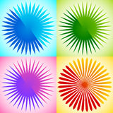 Geometric circle element of radial lines. Bursting lines merging. At center. Abstract generic motif, mandala, decorative element. - Royalty free vector Stock Images