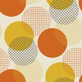 Geometric circle seamless pattern vector illustration in retro 6. 0s style. Vintage 1970s ball geometry shapes abstract repeatable motif for carpet, wrapping stock illustration