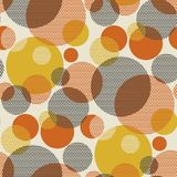 Geometric circle seamless pattern vector illustration. In retro 60s style. Vintage 1970s ball geometry shapes abstract repeatable motif for carpet, wrapping Royalty Free Stock Images