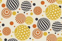 Geometric circle seamless pattern vector illustration. In retro 60s style. Vintage 1970s ball geometry shapes abstract repeatable motif for carpet, wrapping Royalty Free Stock Photos