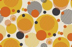 Geometric circle seamless pattern vector in retro style. Geometric circle seamless pattern vector illustration in retro 60s style. Vintage 1970s ball shapes Stock Photography