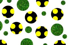 Geometric circles. Yellow, black spheres. Green balls with elements of grass. Abstract background stock illustration