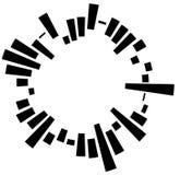 Geometric circular element with irregular radial lines, bars. Re Royalty Free Stock Photos