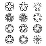 Geometric circular ornament Spirograph flower Draw Black Tattoo Vector. Design Royalty Free Stock Images