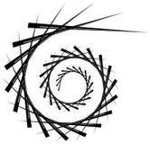 Geometric circular spiral. Abstract angular, edgy shape in rotating fashion vector illustration