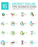 Geometric clock and time icon set Royalty Free Stock Photography